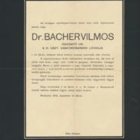 Bacher Vilmos két gyászjelentése