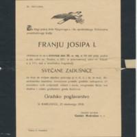 Meghívó  Ferenc József elhunyta miatt tartott gyászistentiszteletre