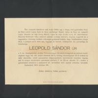 Leopold Sándor gyászjelentése