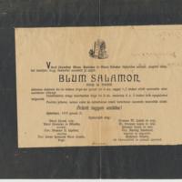 Blum Salamon gyászjelentése