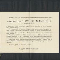 Weiss Manfréd két gyászjelentése