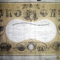Az első magyar Izraelita Betegsegélyező és Temetkezési Egylet díszoklevele Mezei Mórnak