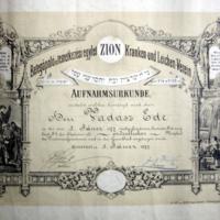 Betegápoló és temetkezési egylet Zion oklevele
