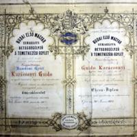 Budai Első Magyar Izraelita Betegsegélyező 's Temetkezési Egylet tiszteletbeli tagsági oklevele