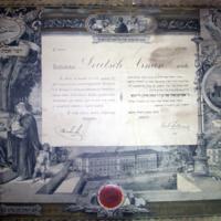 A pesti Hevra Kadisa tagfelvételi oklevele Deutsch Árminnak