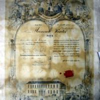 A Pesti Hevra Kadisa tagfelvételi oklevele